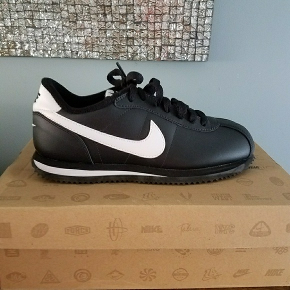 official photos b994a cb84a ... sale new nike cortez 07 black leather sz 4 y 5.5 w 254ad c87b1 ...